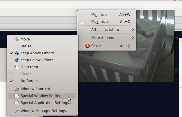 KDE: how to setup a transparent window (VLC media player running a