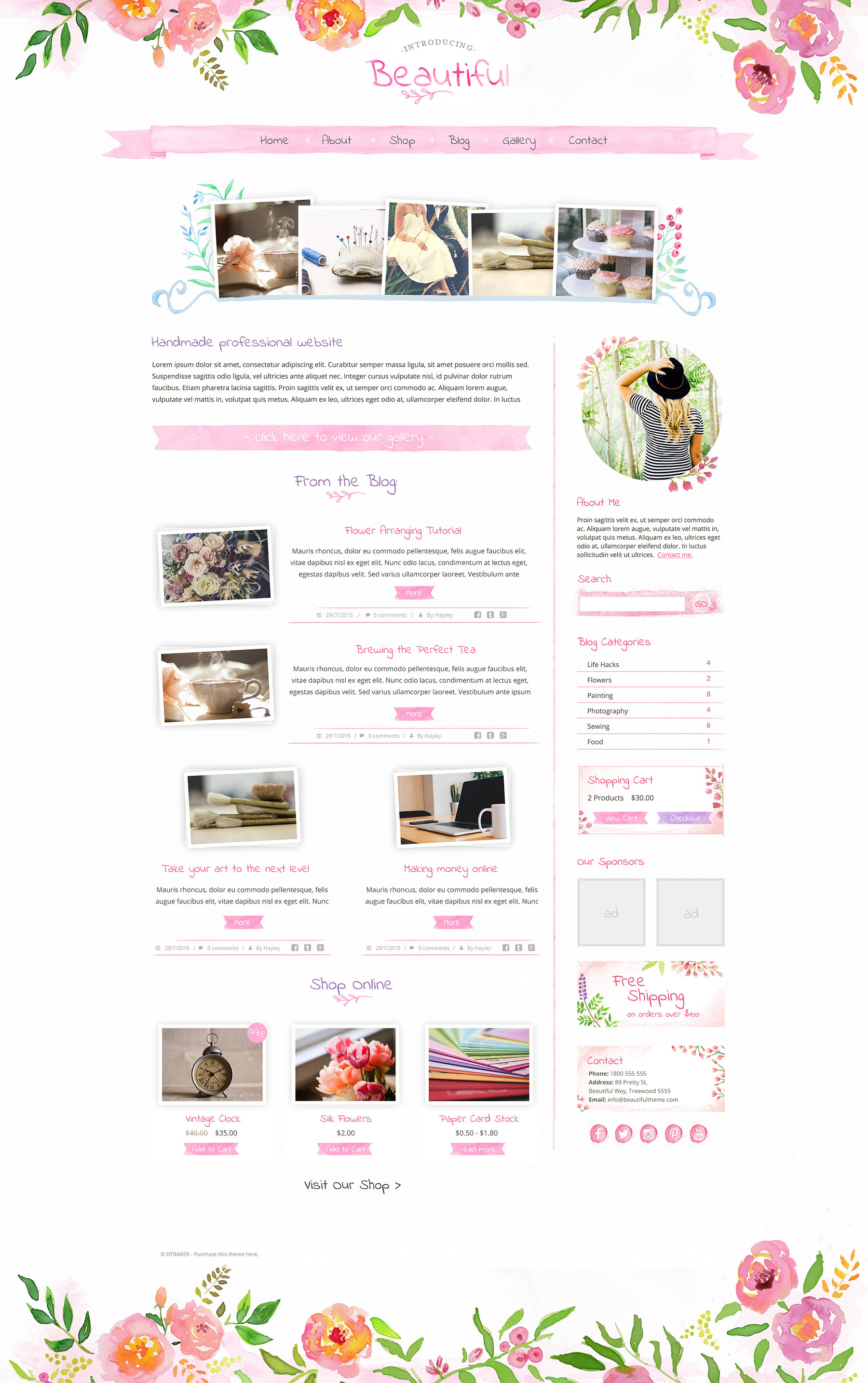 Beautiful watercolour wp theme