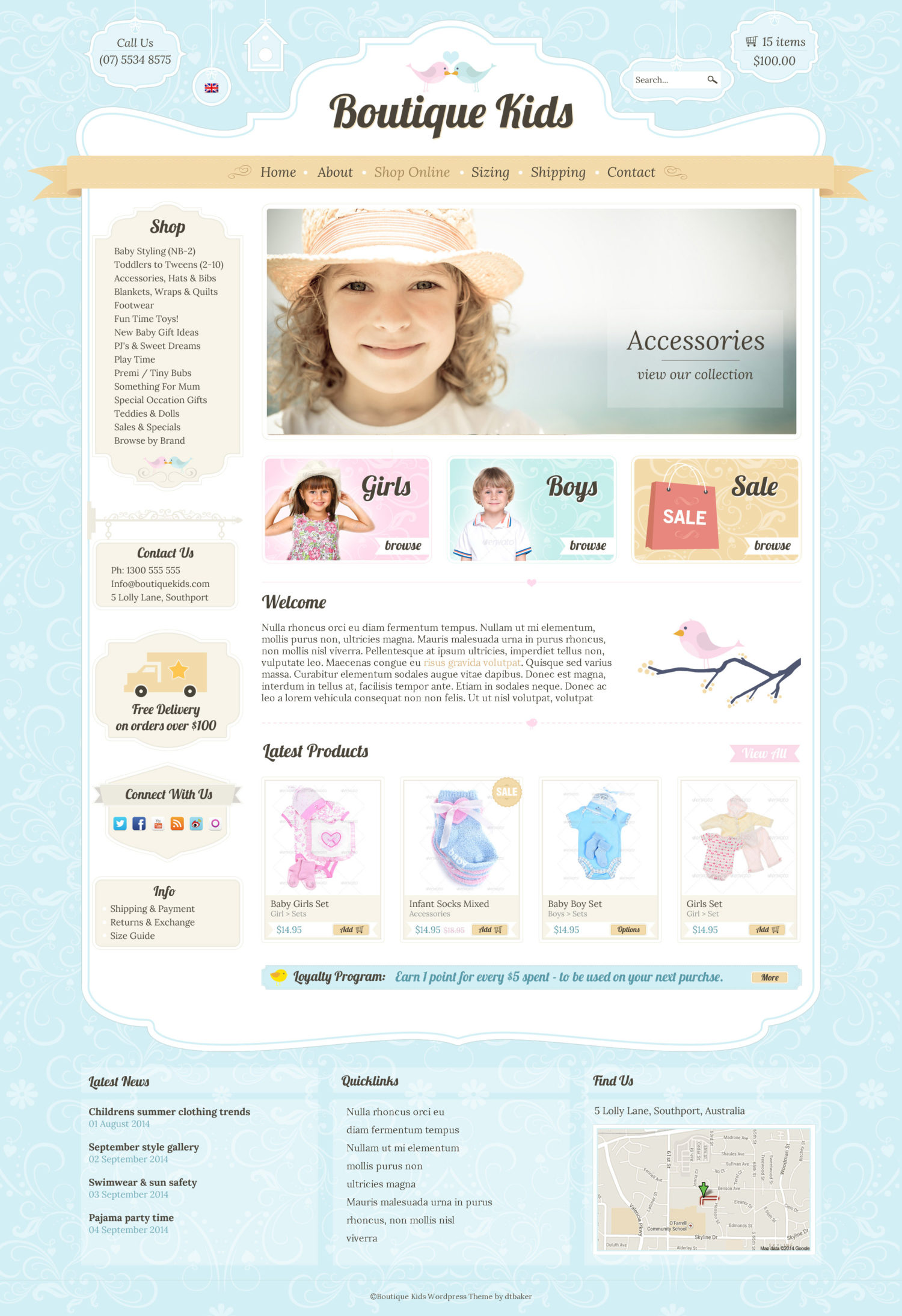 Boutique kids wordpress