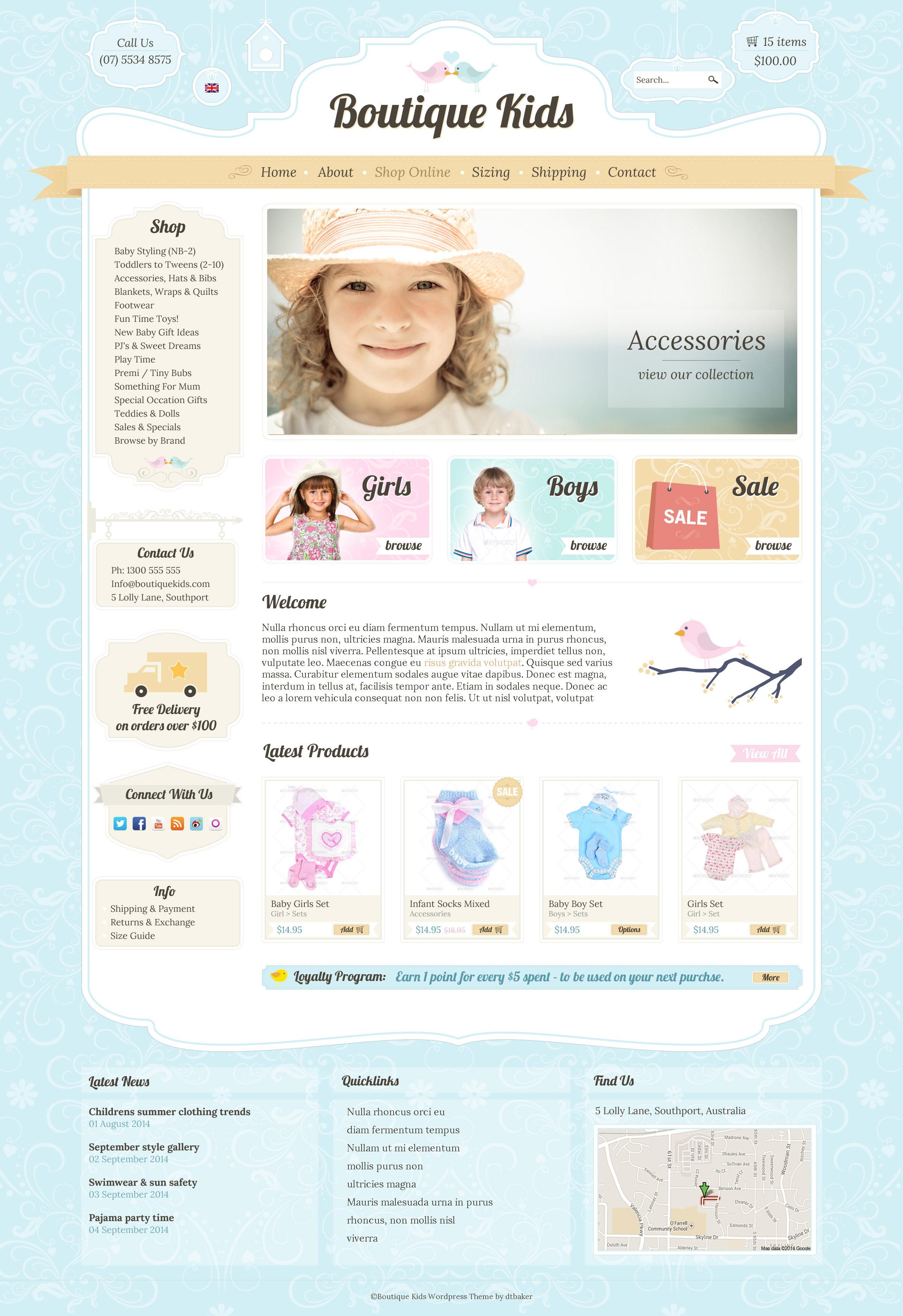 Boutique kids wordpress