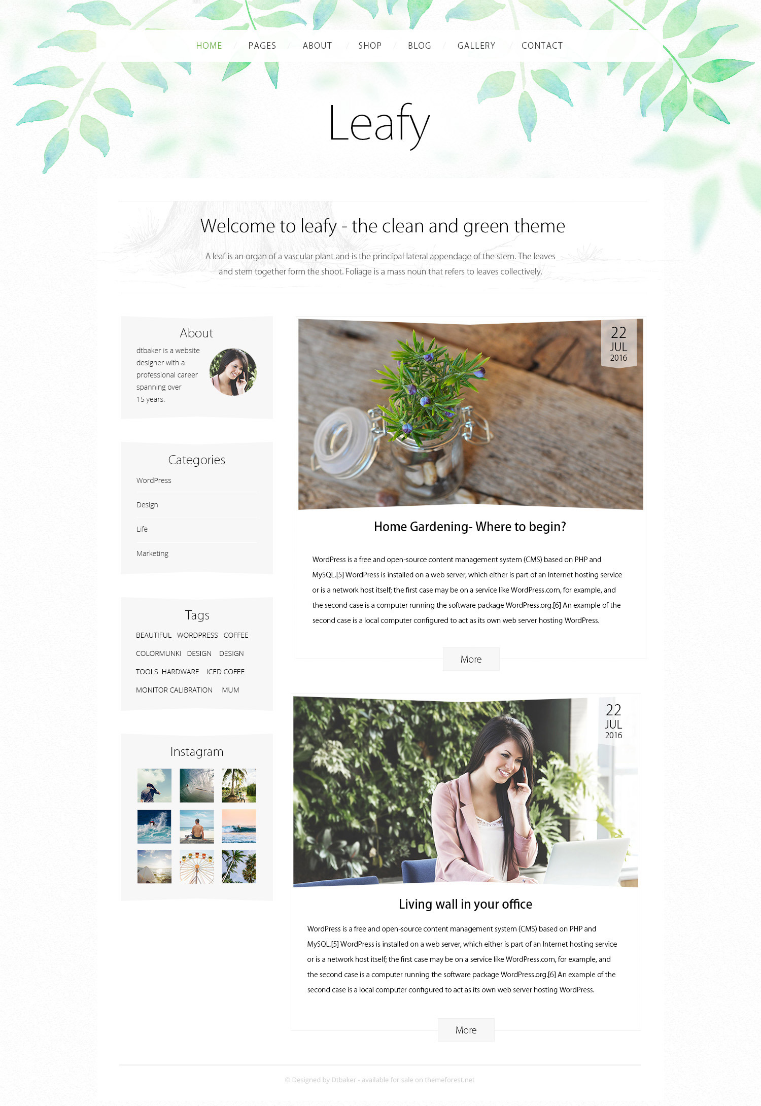 Leafy watercolor wordpress theme