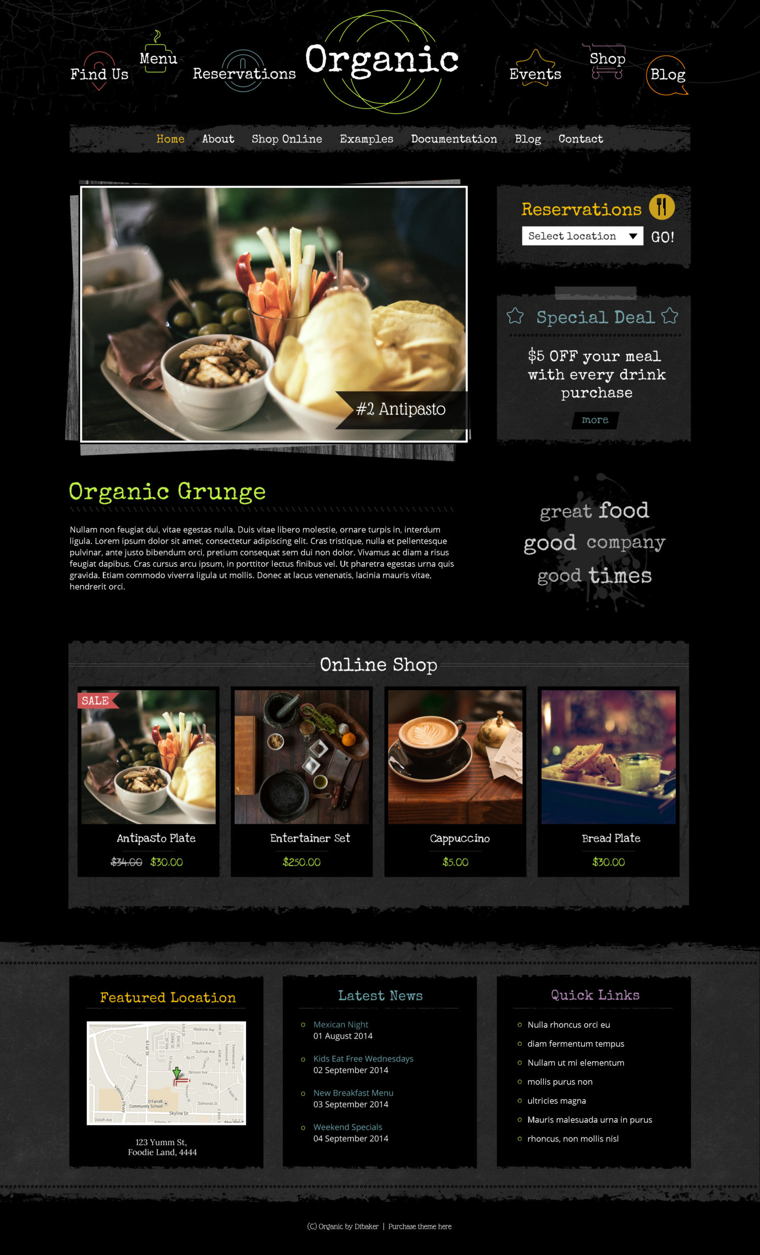 Organic Grunge wordpress theme
