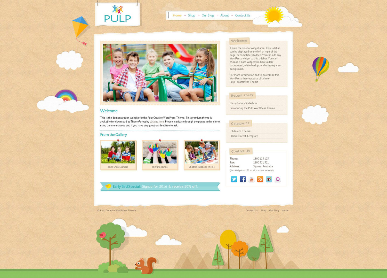 Pulp Kids wordpress theme