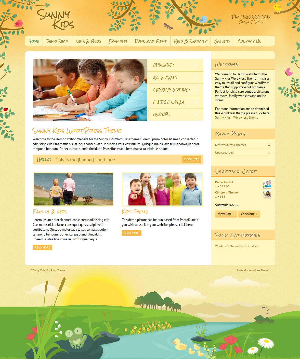 sunny kids wordpress theme