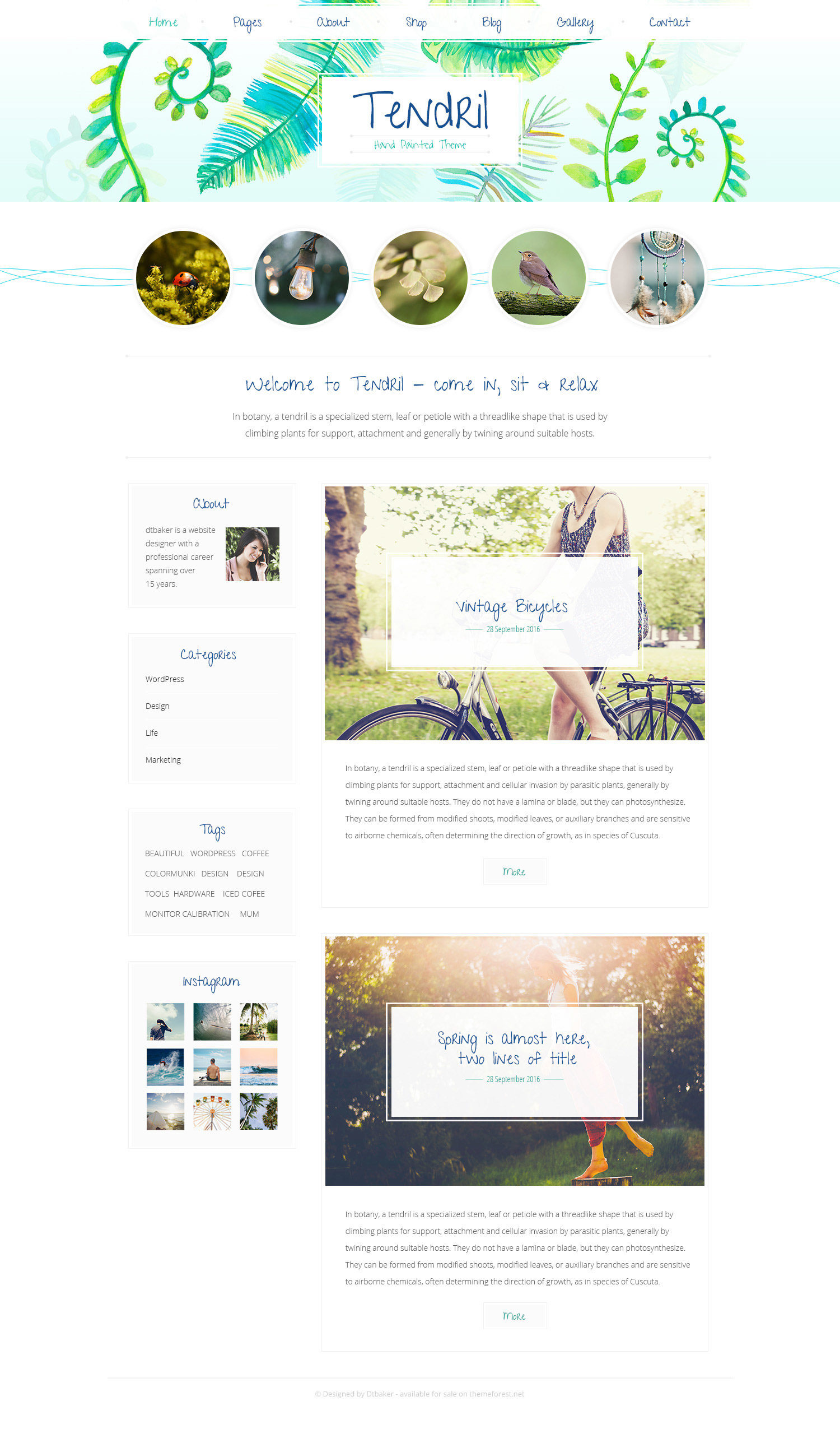Tendril watercolour wordpress theme